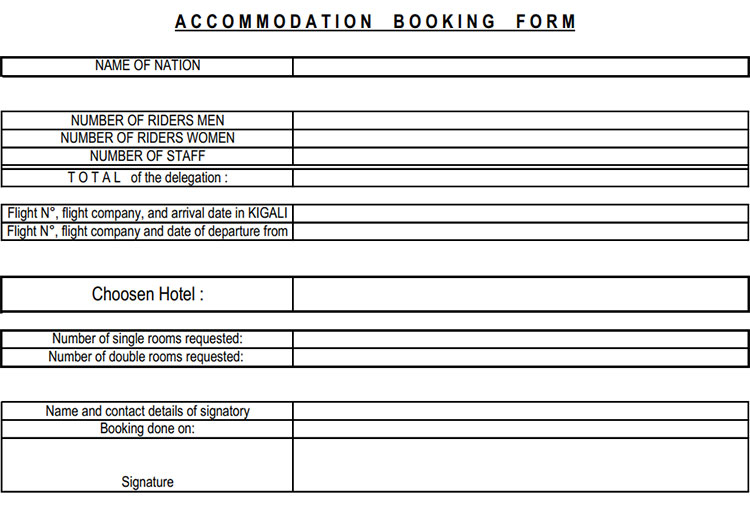 Accommodation booking form - Rwanda Cycling Federation - FERWACY
