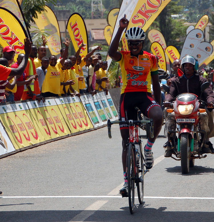 Hadi Janvier celebrates as he crosses the line to win Race for Culture